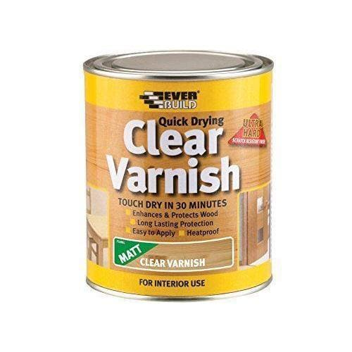 Everbuild EVBWVARCLM02 Quick Dry Wood Varnish Matt Clear 250 ml