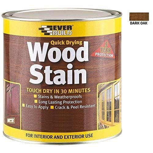 Everbuild Quick Drying Professional Solvent Free Satin Finish Wood Stain, Dark Oak, 250 ml
