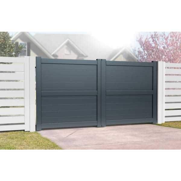 Flat Top Metal Double Driveway Gate with Horizontal Infill