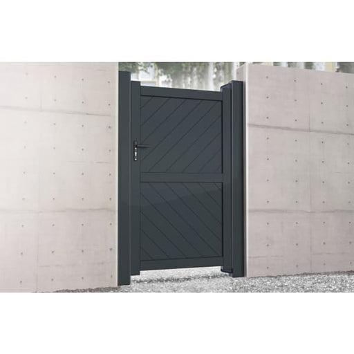 Flat Top Metal Side Gate with Diagonal Infill