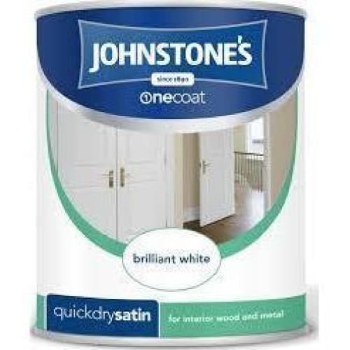 Johnstone's 303912 750ml One Coat Quick Dry Satin Paint - Brilliant White-Armstrong Supplies-Armstrong Supplies