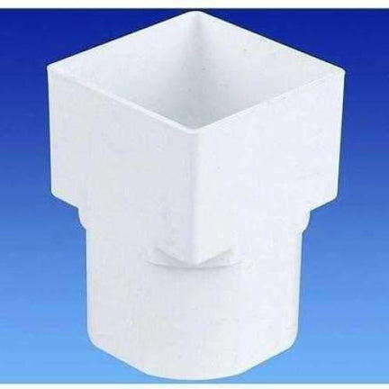 OSMA Drain Adaptor Square to Round for 61mm Square 68mm Round Downpipes White 4T836-Armstrong Supplies