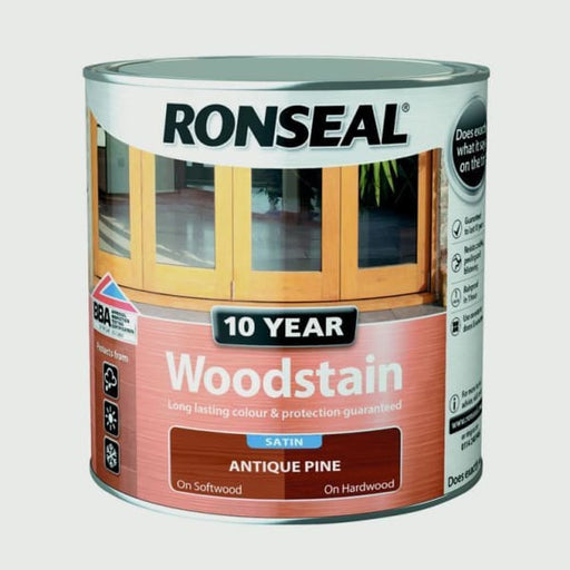 Ronseal 10 Year Woodstain Satin 750ml - Antique Pine