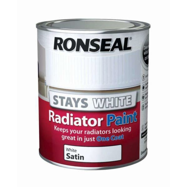 Ronseal One Coat Radiator Paint Satin 750ml White-Armstrong Supplies