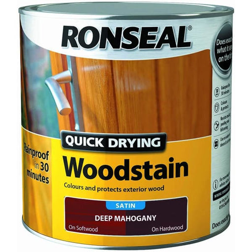 Ronseal Quick Drying Woodstain Deep Mahogany Satin 2.5L