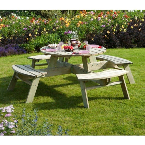 Round Eight Seater Picnic Bench