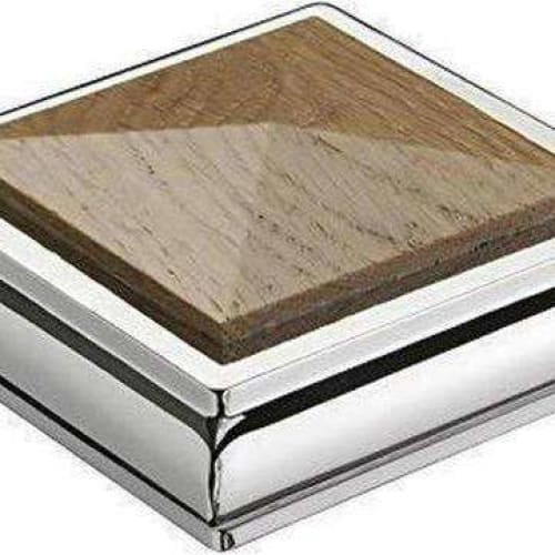 Solo Oak & Chrome Square Newel Cap 110mm-Armstrong Supplies