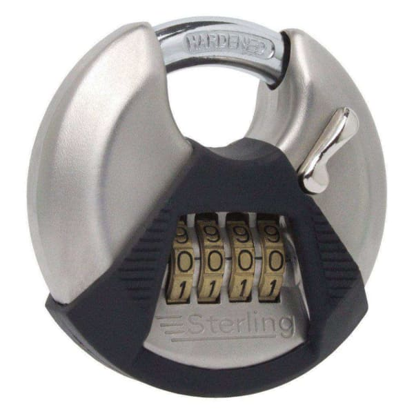 Sterling High Security 4-Dial Combination Lock, Closed Shackle Disc Padlock 70mm-Armstrong Supplies