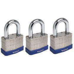 Sterling Mid Security Laminated Padlock - Multi-Pack Keyed Alike 3 x 40mm-Armstrong Supplies