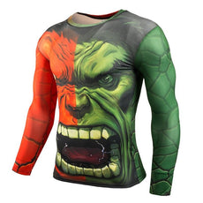 Mens Green Hulk 3D Print Long Sleeve