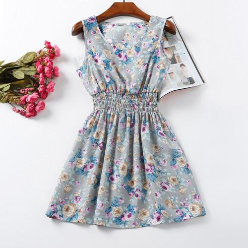 Floral Gray High-quality Summer Women Casual Dress