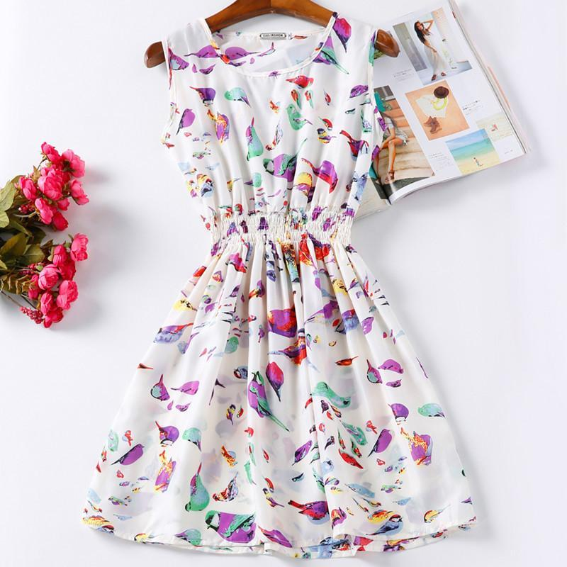 White/Purple High-quality Summer Women Casual Dress