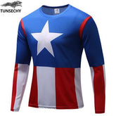 Exclusive High-Quality Captain America US Flag Long Sleeves