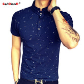 Guitar Printed Stand Collar Men Polo Shirt