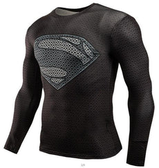 Mens Black Superman 3D Print Sports Workout