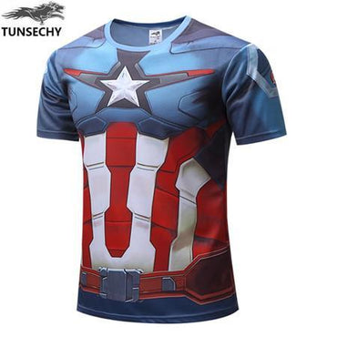 Mens Captain America 3D Print High-Quality T-shirt