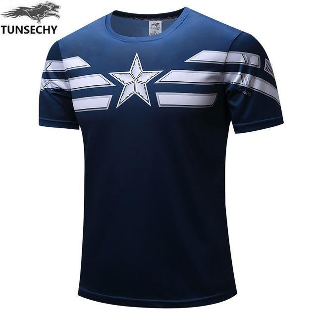 Exclusive High-Quality Navy Blue Captain America T-shirt