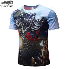 Mens Transformers 3D Print High-Quality T-shirt