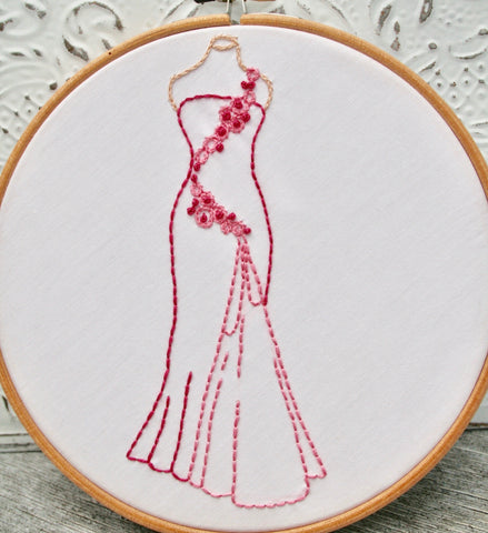 PDF Embroidery Pattern: Vintage Ball Gown in Rose