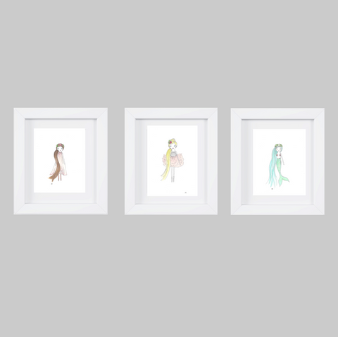 SET OF 3 WATERCOLOR PRINCESSES Art Prints