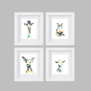 SET OF 4 WATERCOLOR ANIMAL Art Prints