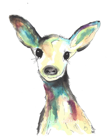 WATERCOLOR DEER Art Print
