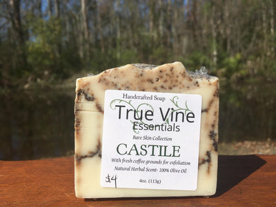 Castile - Soap Bar with fresh coffee grounds for exfoliation