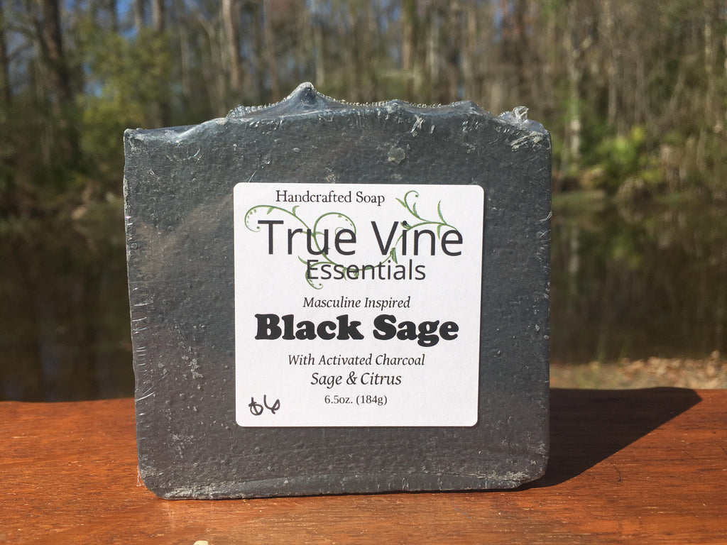Black Sage - Masculine Inspired Soap Bar with activated charcoal, sage and citrus