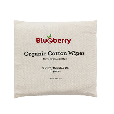 Blueberry Organic Cotton Wipes - 12 Pk
