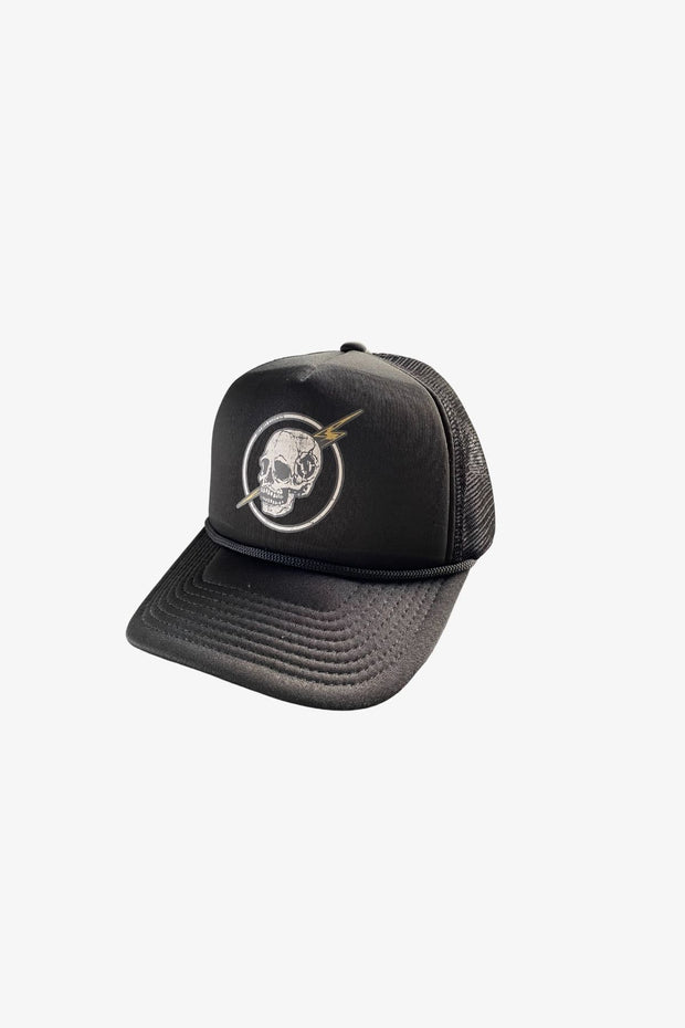 Skull Slash Trucker Hat Black