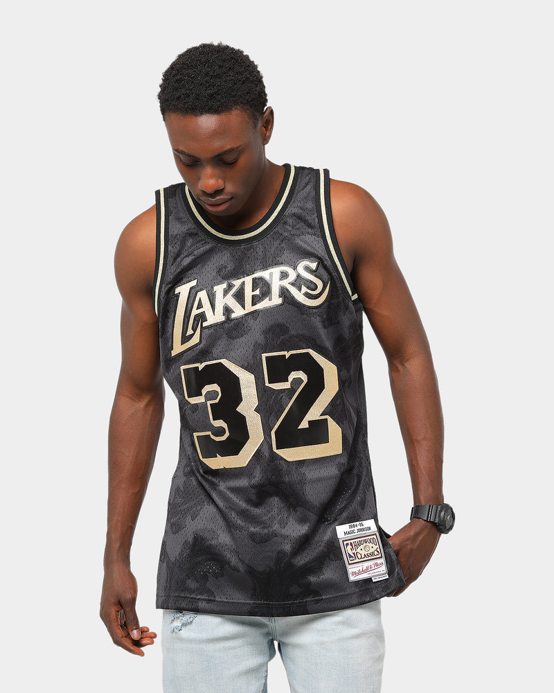 MITCHELL & NESS LOS ANGELES LAKERS MAGIC JOHNSON #32 GOLD TOILE ...