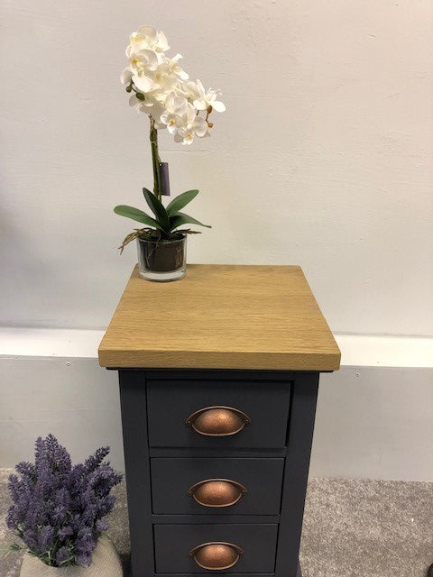 Three Drawer Bedside - Slate Blue