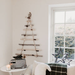 Star & Pinecone Wooden Ladder Tree