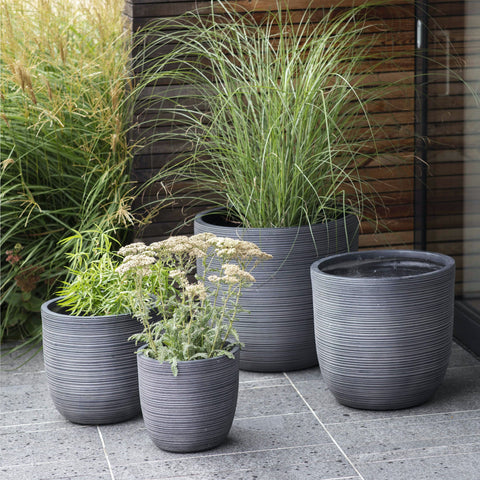 Set of Grey Clay Planters