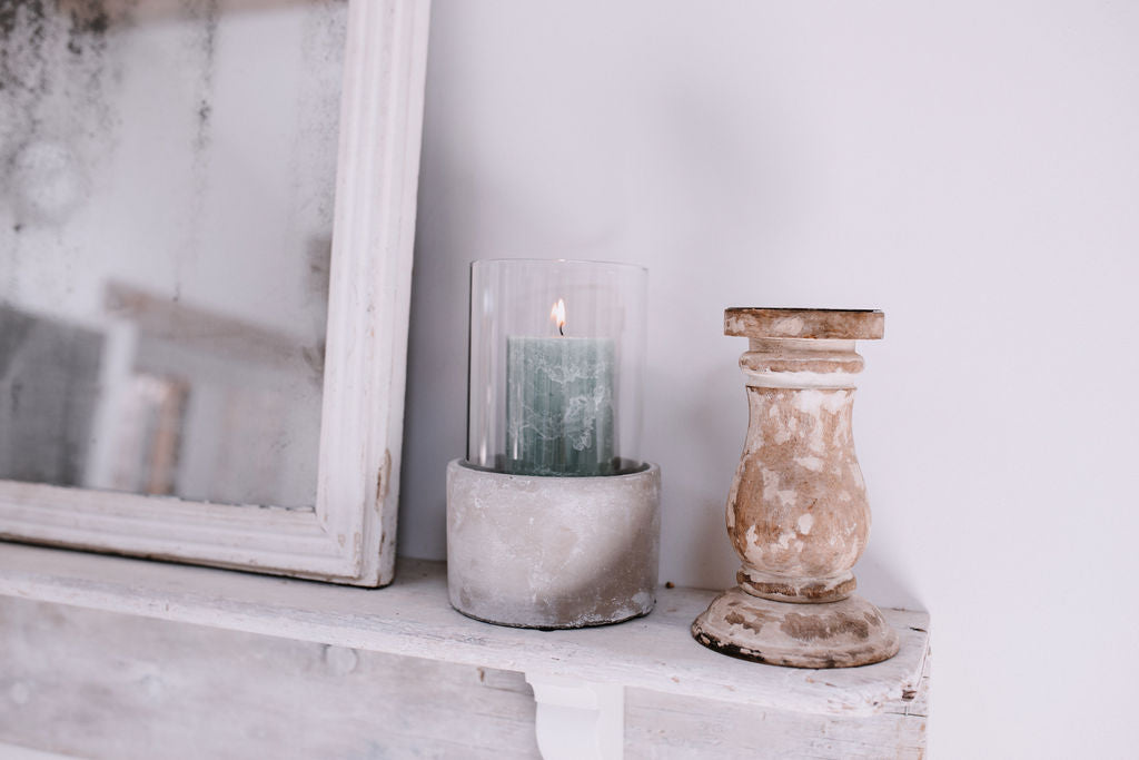 Glass and Cement Candle Holder