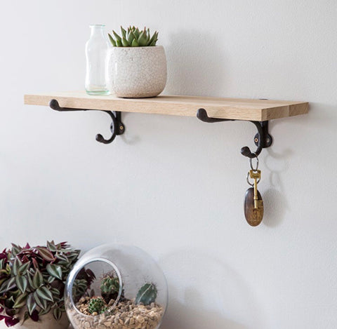Oak Shelf with Cast Iron Brackets