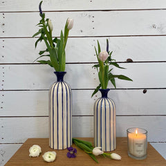 Blue & Cream Striped Vase