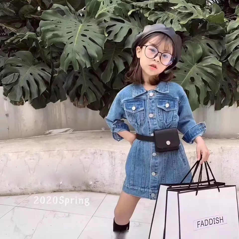 Girls denim dress with Fanny bag Included