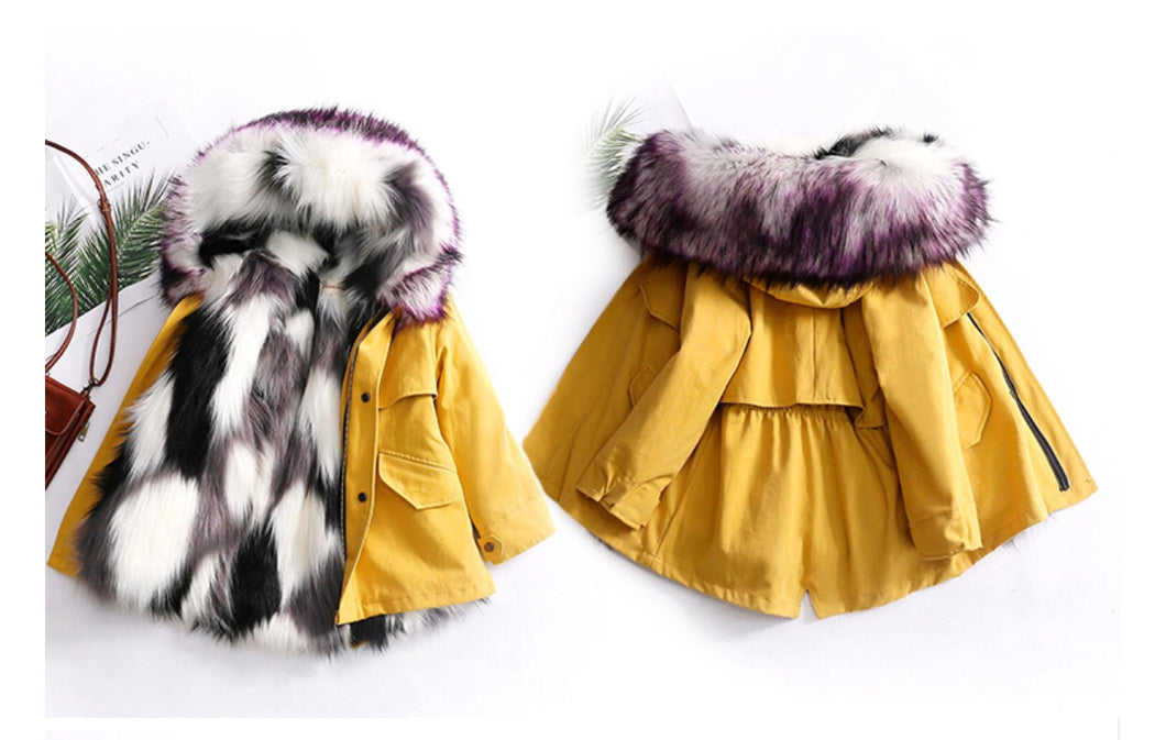 Mustard Faux fur coat