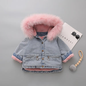 Barry Faux Fur denim  Coat