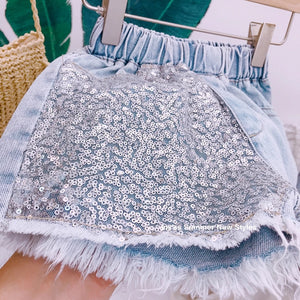 Cotton candy sequin short