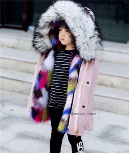 Pink/ fur multicolor Coat