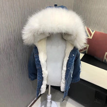 Denim fur coat Jacket