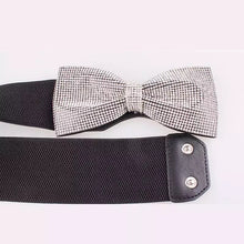 Bow sequin elastic belt