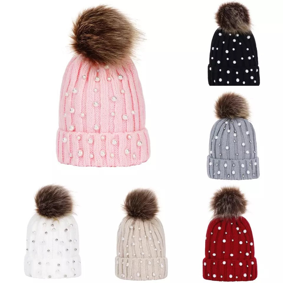 Pearls Pom Pom beanie big kids and adult