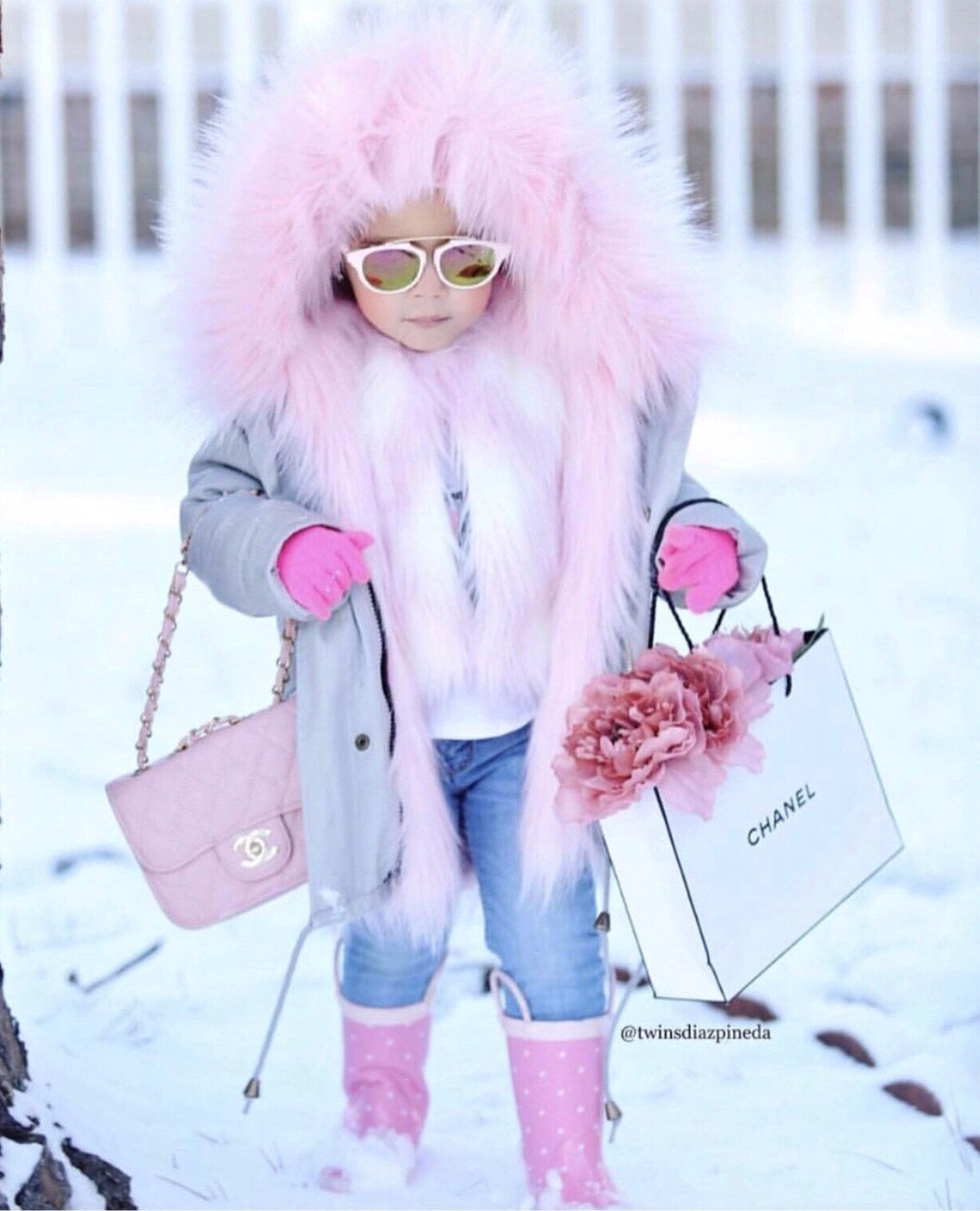 Grey & Pink fur Coat