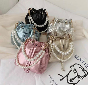 Girls pearls mini handbags