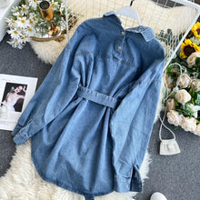 Women's denim blouse / with bag belt
