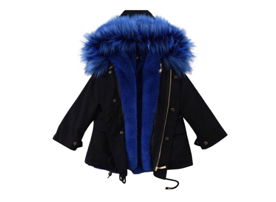 Black & Blue fur coat