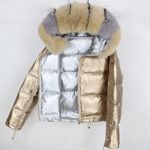 Metallic fur coat Reversible